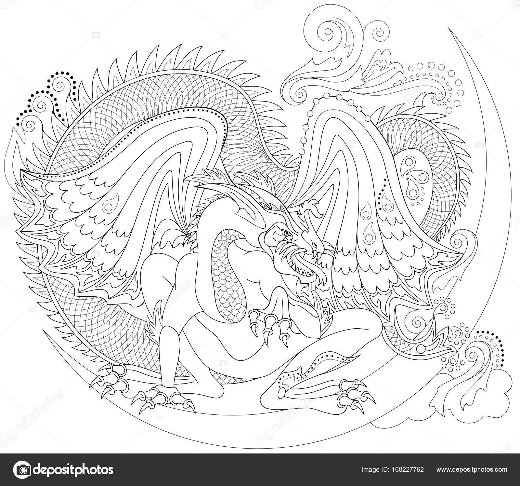 Página para colorear en blanco y negro. Dibujo de dragón céltico de ...