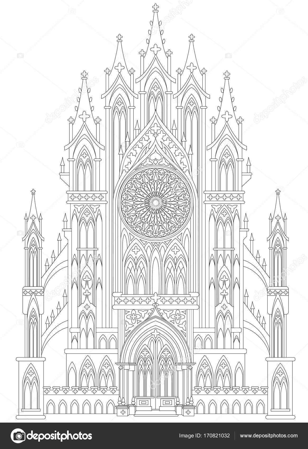 Dibujo de castillo gótico medieval de fantasía. Página para colorear ...
