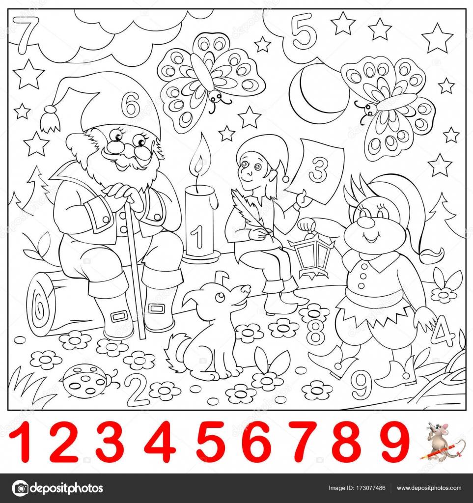 Página educativa para niños pequeños. Encontrar los números ...