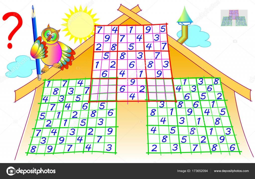Logik-Puzzle mit Sudoku-Spiel. Arbeitsblatt für Kinder und ...