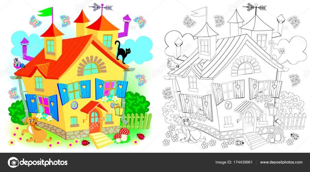 Patrón de colores y blanco y negro para colorear. Casa de juguete de ...