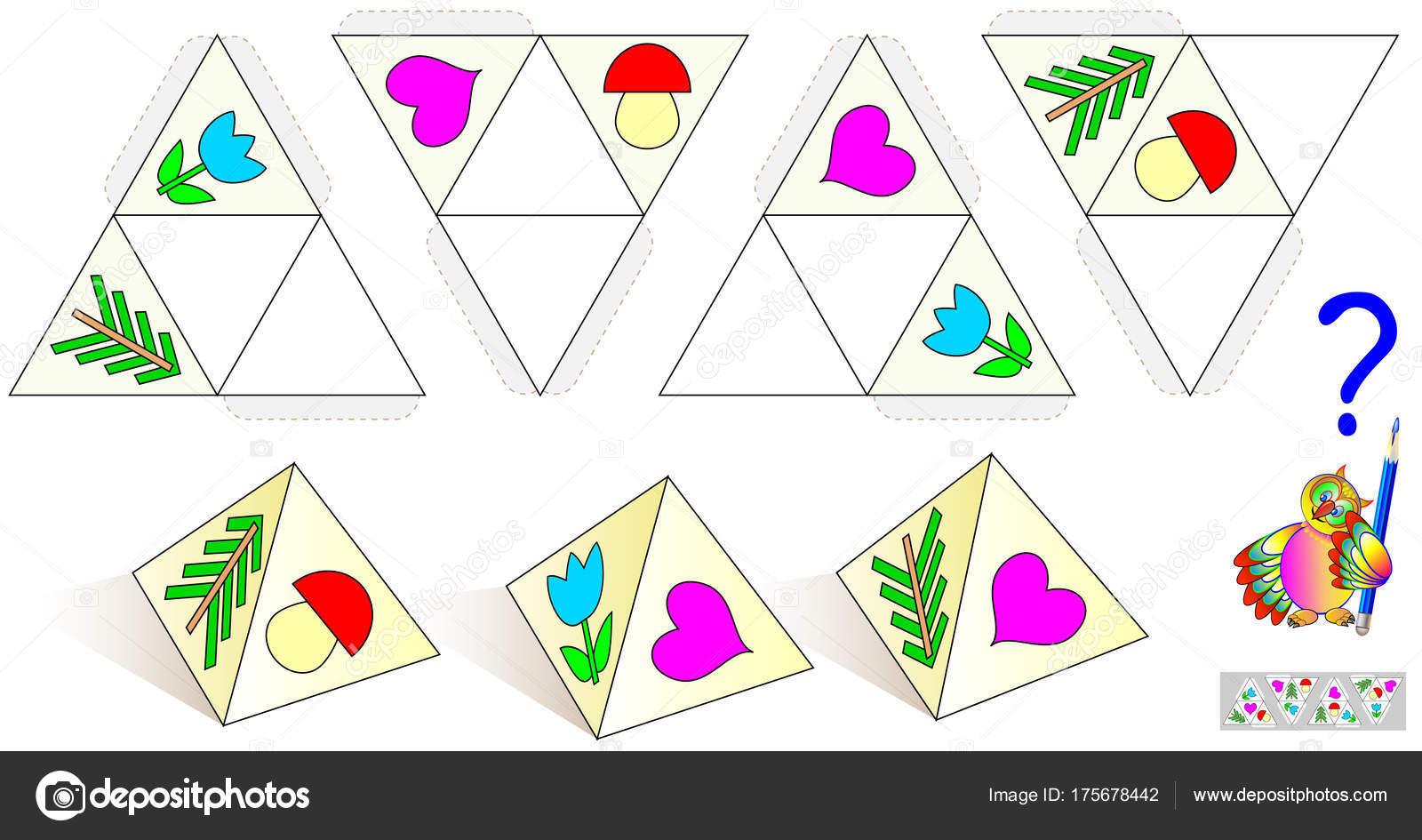 Logik Puzzle Spiel Zeichnen Sie Die Fehlenden Objekte Auf Muster ...