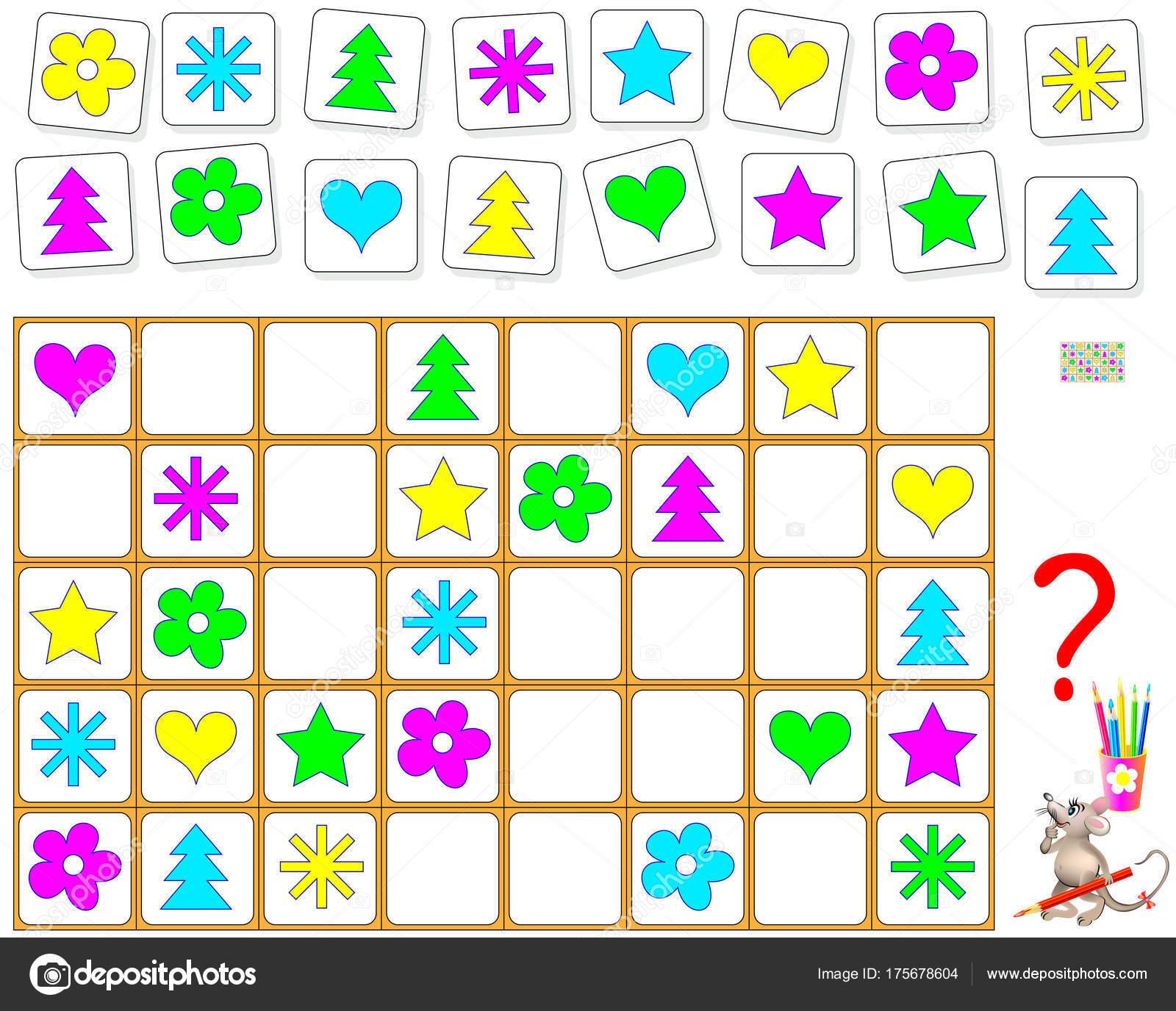 Logik Puzzle Spiel Zeichnen Sie Die Fehlenden Objekte Leere Plätze ...