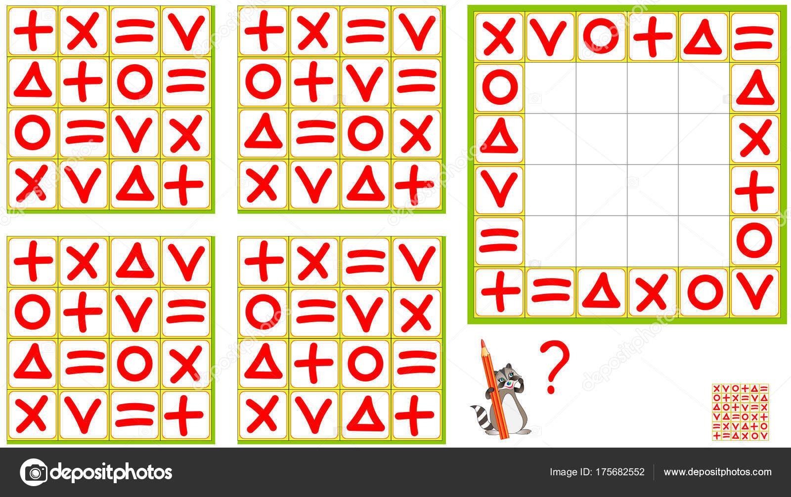 Logik Puzzle Spiel Finden Sie Das Richtige Muster Und Ziehen ...