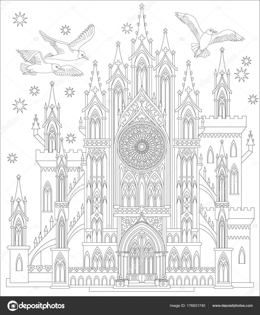 Märchenland Mittelalterliche Gotische Burg Black White Seite Zum