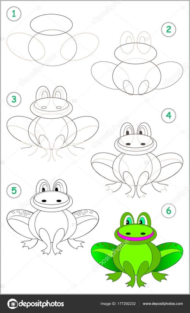 Página Muestra Cómo Aprender Paso Paso Dibujar Una Rana Divertida ...