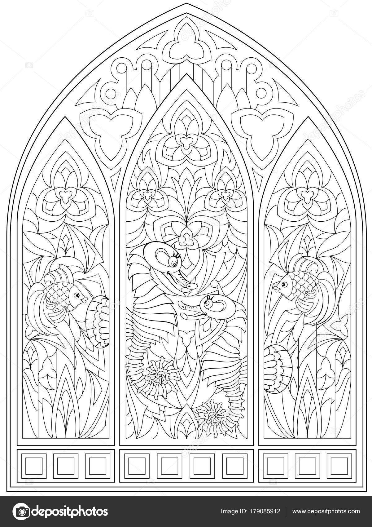 Fantasy Drawing Of Beautiful Gothic Windows With Stained Glass In Medieval Style Worksheet For Children And Adults Vector Image