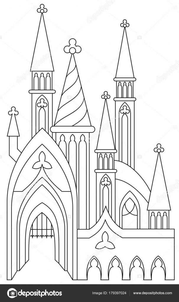Página Para Colorear Blanco Negro Castillo Medieval Fantástico ...