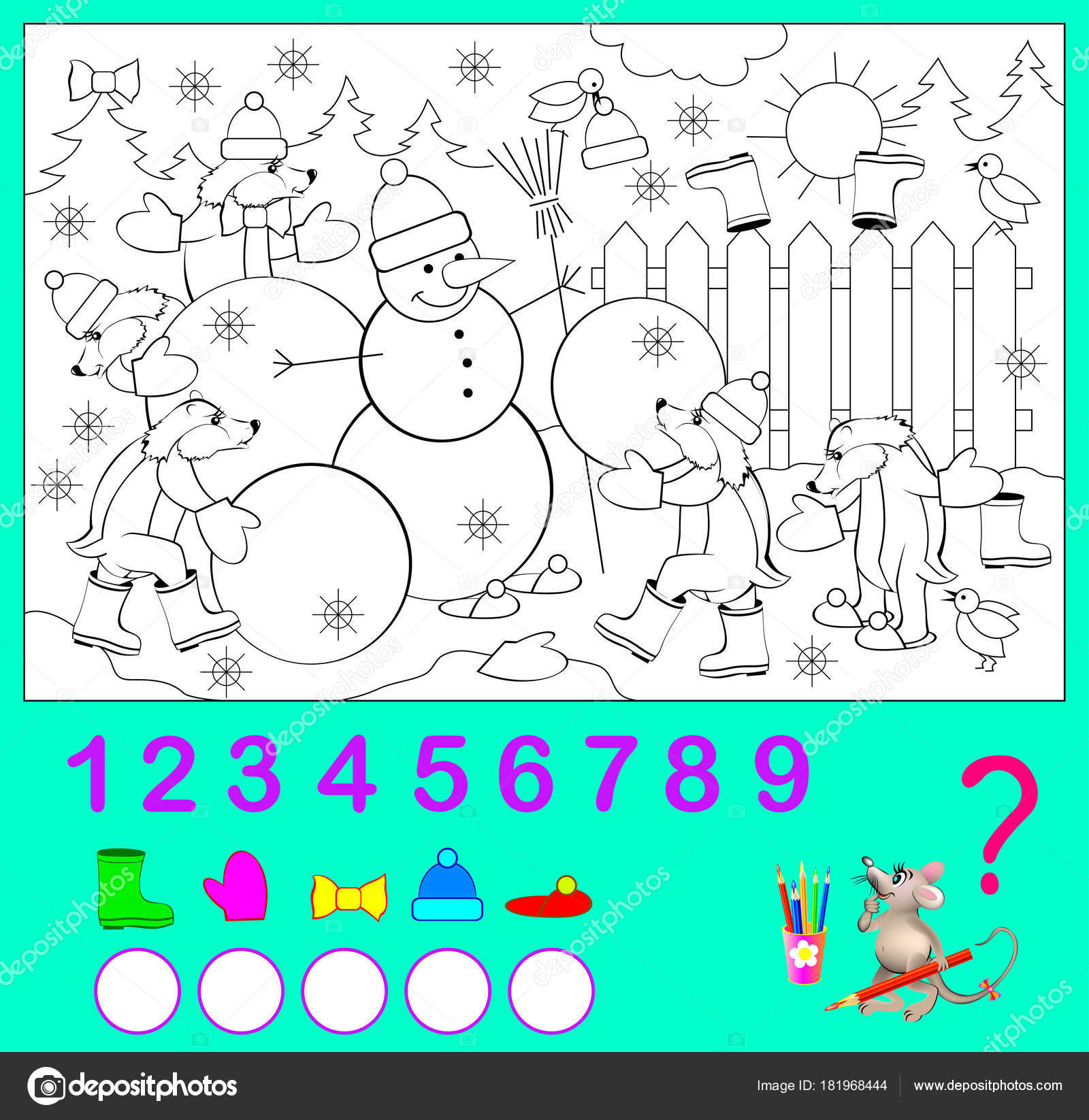 Logic Exercise Children How Many Objects You Can Find Picture ...