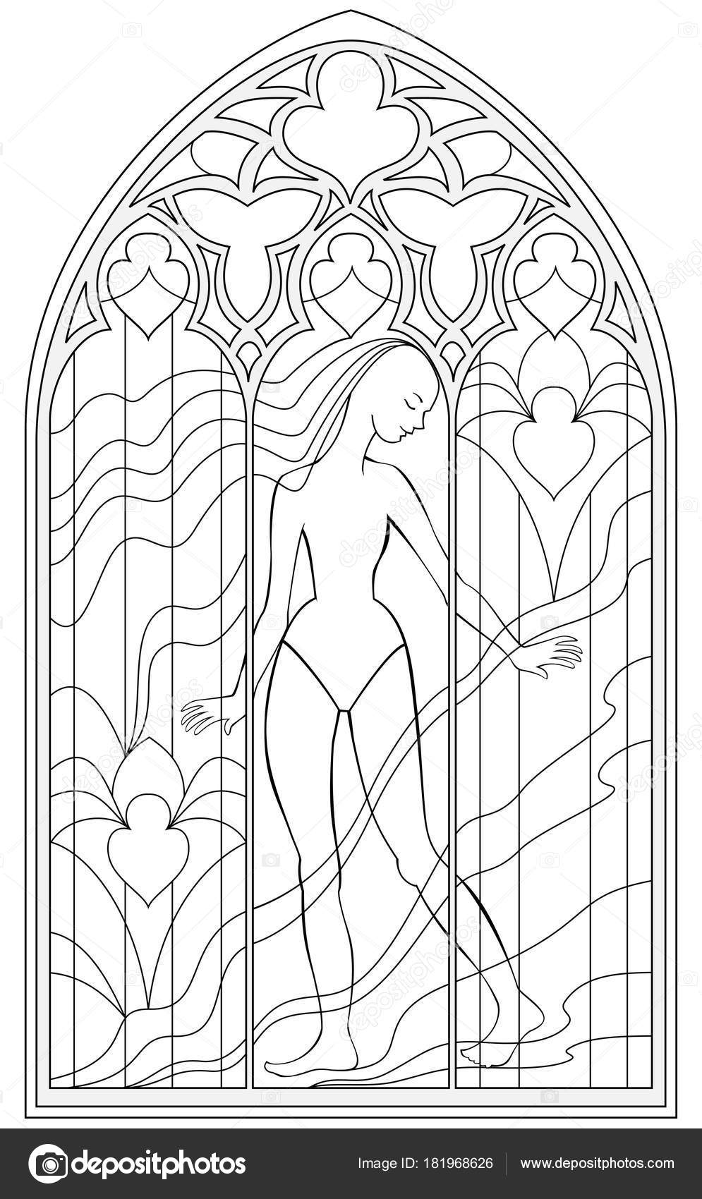 Black And White Page For Coloring Fantasy Drawing Of Beautiful Gothic Windows With Stained Glass In Medieval Style Worksheet Children Adults