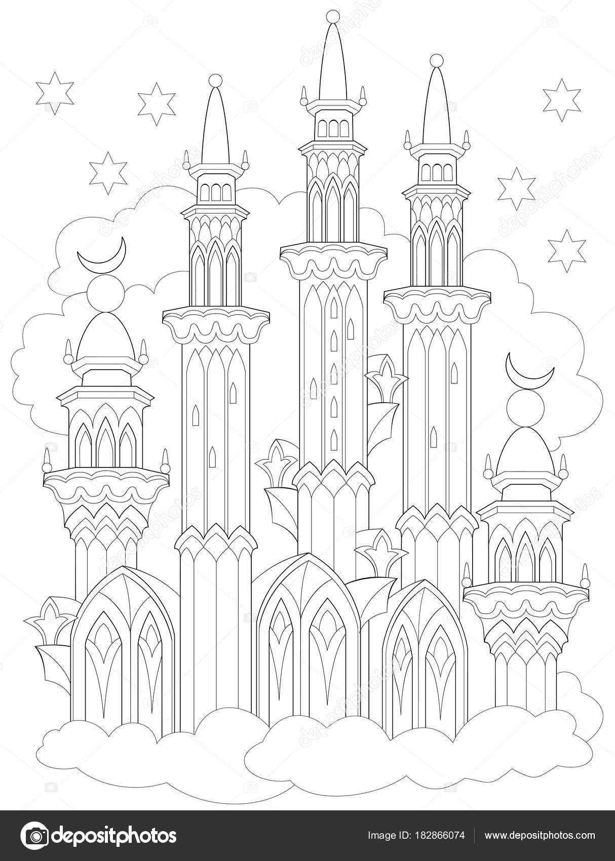 Página Para Colorear Blanco Negro Fantasía Castillo Árabe Partir ...
