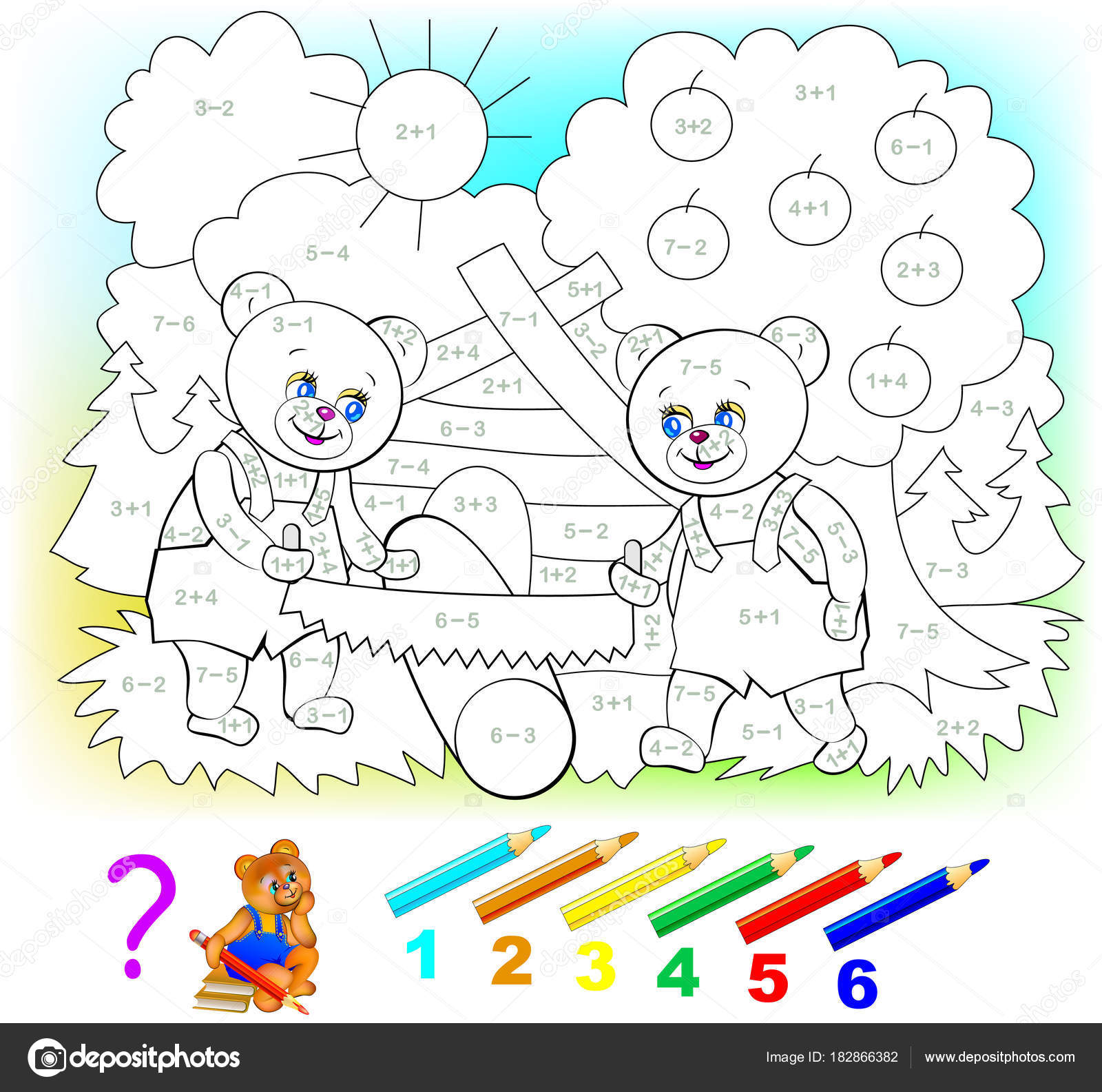 Hoja Cálculo Matemático Para Niños Sobre Suma Resta Necesario ...