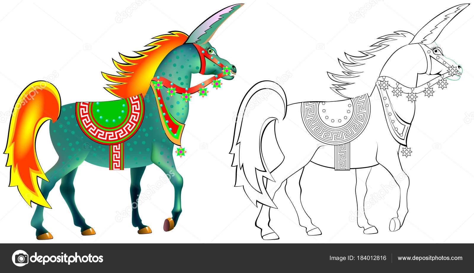 Patrón Colores Blanco Negro Para Colorear Dibujo Unicornio Antiguo ...