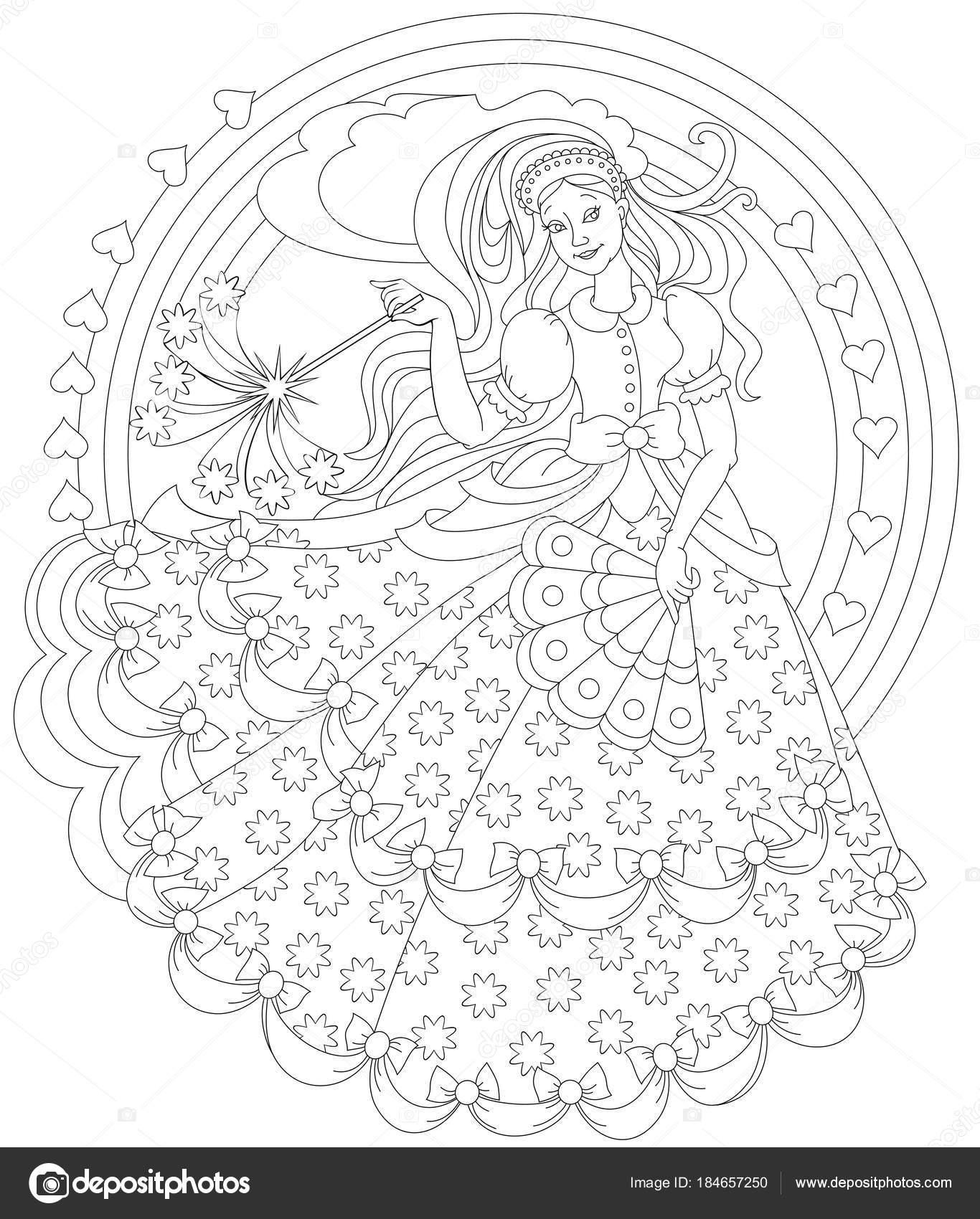 Página Para Colorear Blanco Negro Fantástico Dibujo Hermosa Hada Con ...