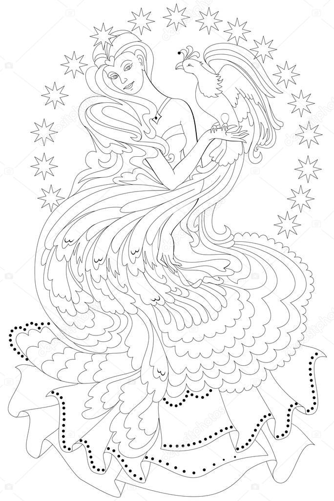 black white page coloring fantasy drawing beautiful fairy
