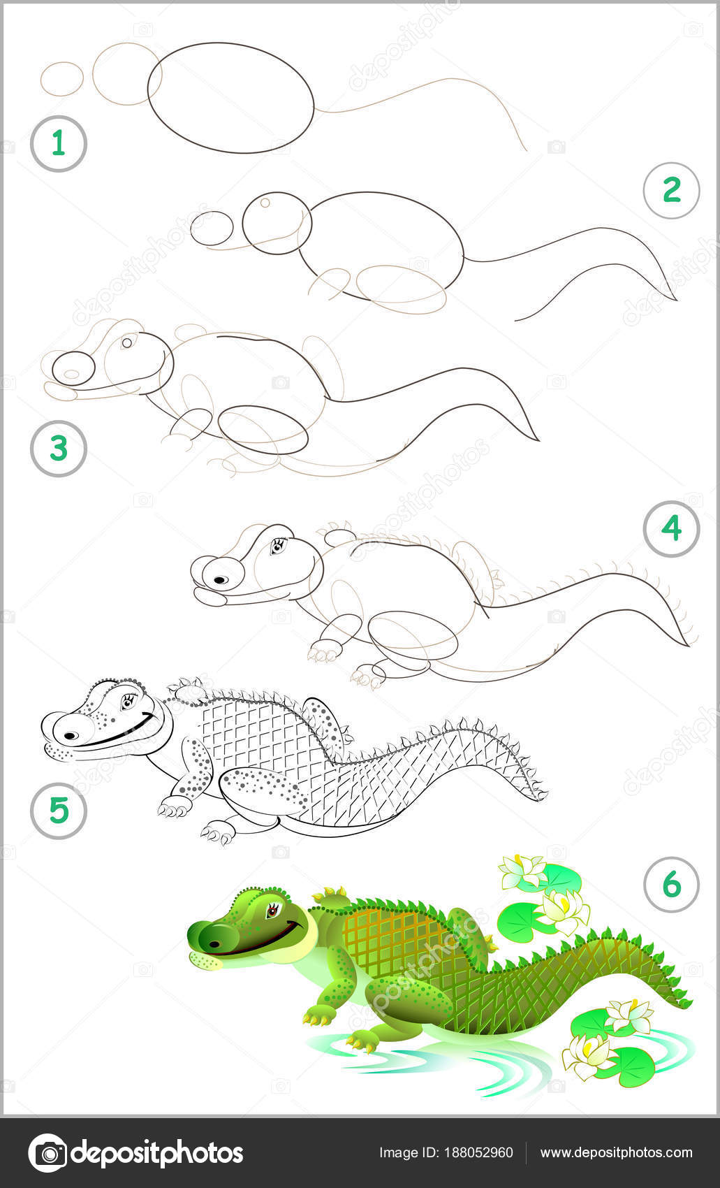 Dibujos Dibujo De Cocodrilo Paso A Paso Página Muestra Cómo