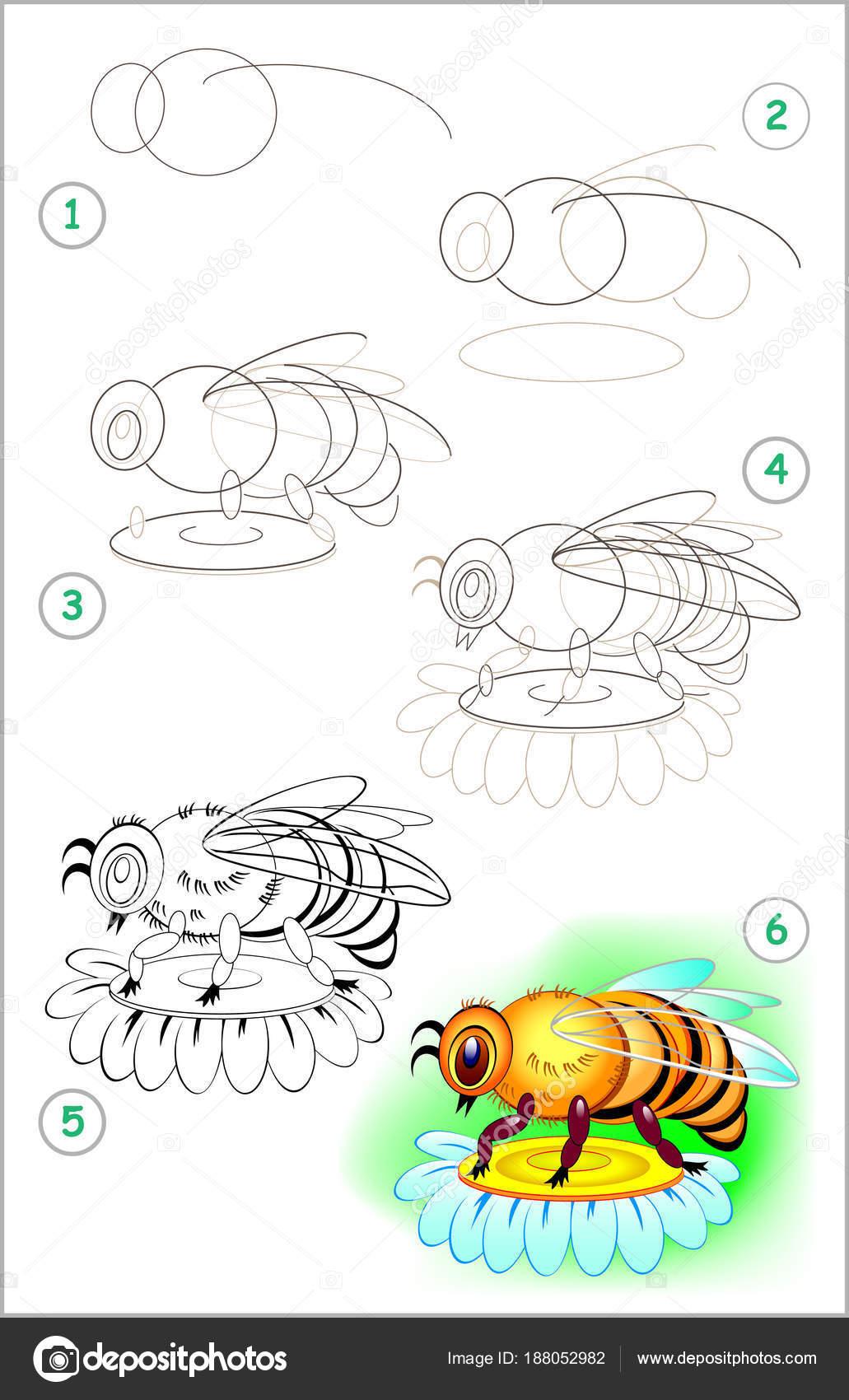 Página Muestra Cómo Aprender Paso Paso Dibujar Una Abeja Desarrollo