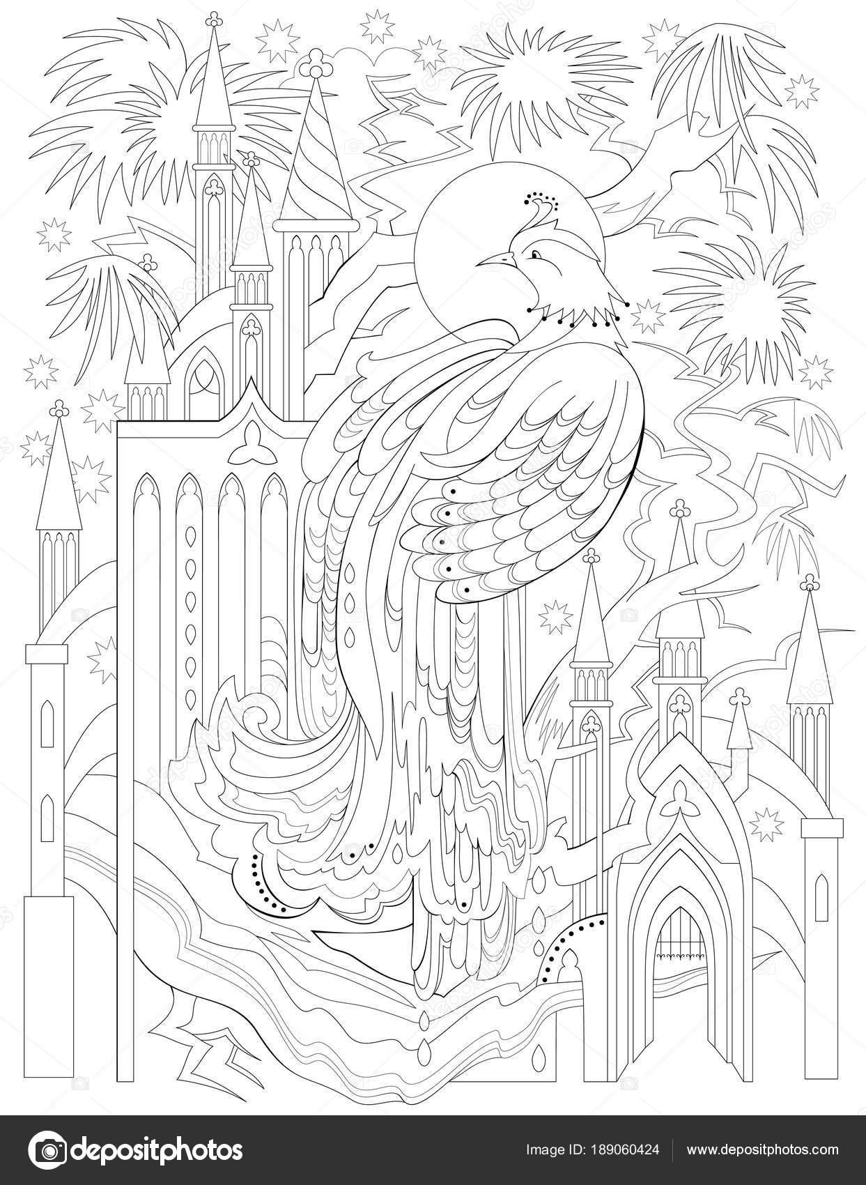 Página Para Colorear Blanco Negro Dibujo Firebird Cuento Hadas ...