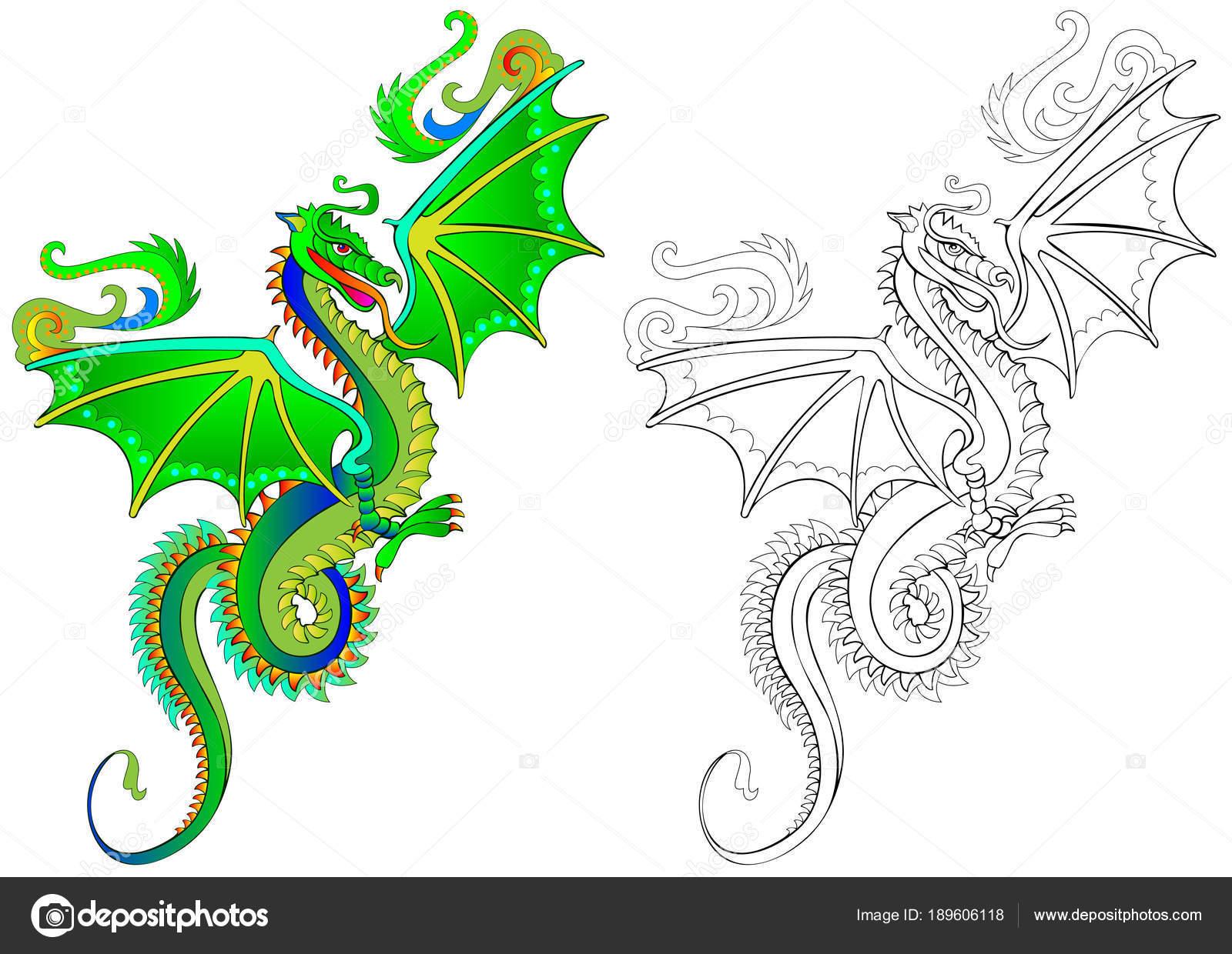 Imágenes Dragones Chinos Para Niños Patrón Colores Blanco