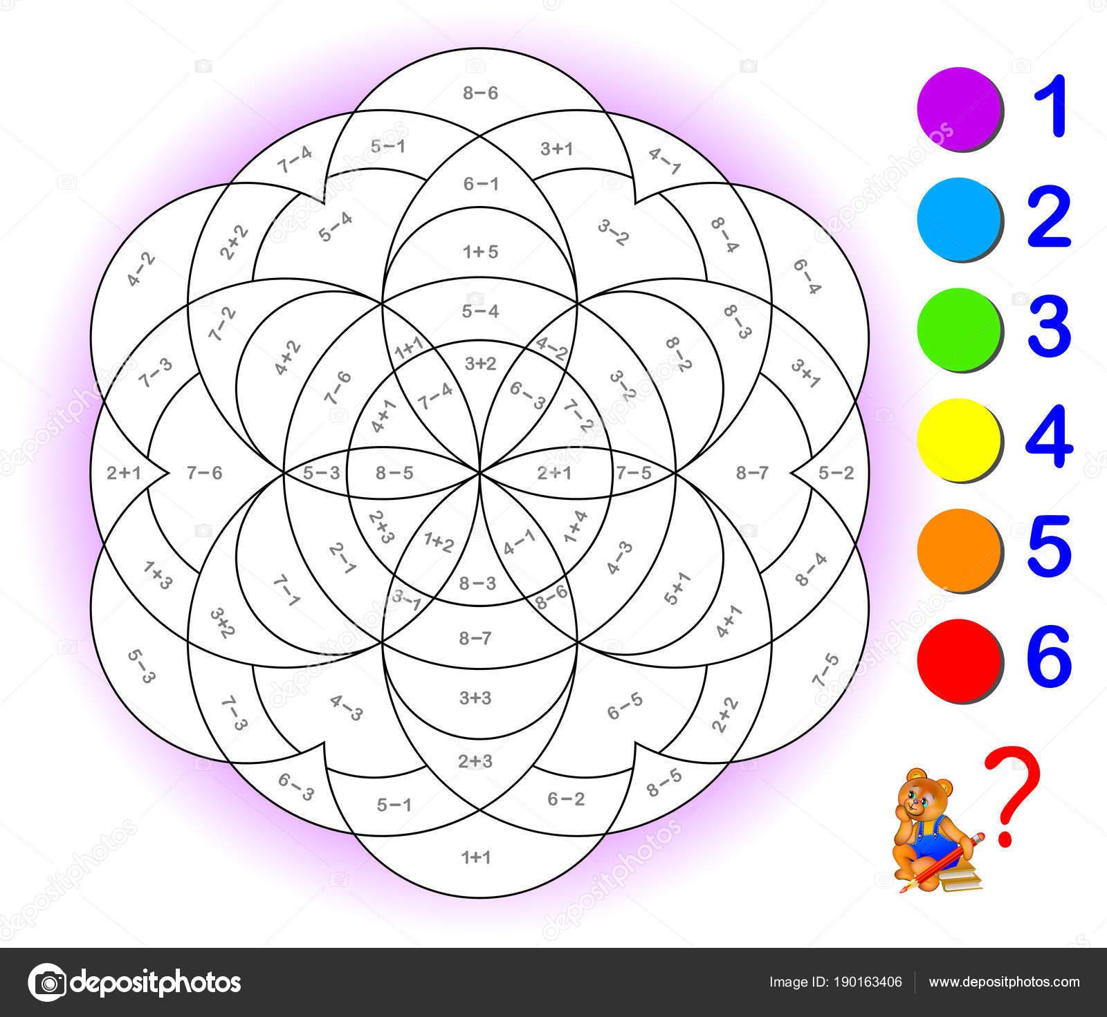Imágenes Sumas Y Restas Con Para Colorear Página Educativa Con
