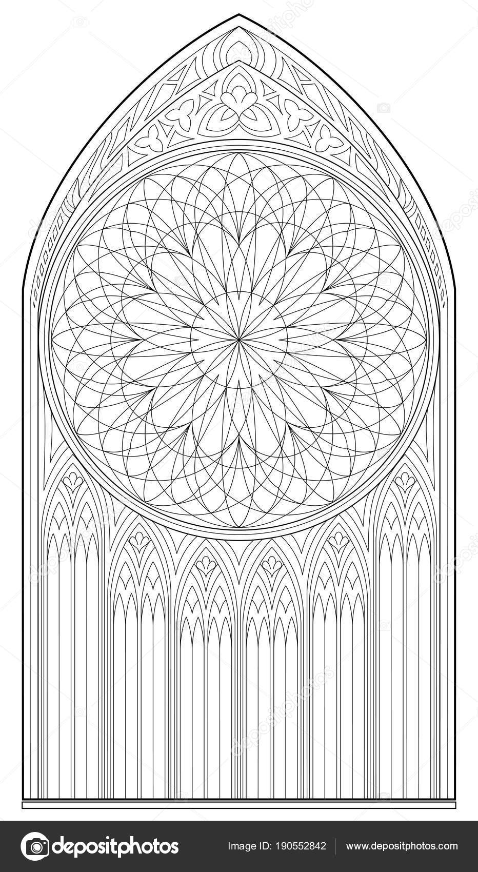 Drawing Of Medieval Gothic Window With Stained Glass And Rose Worksheet For Children Adults Vector Image By Nataljacernecka