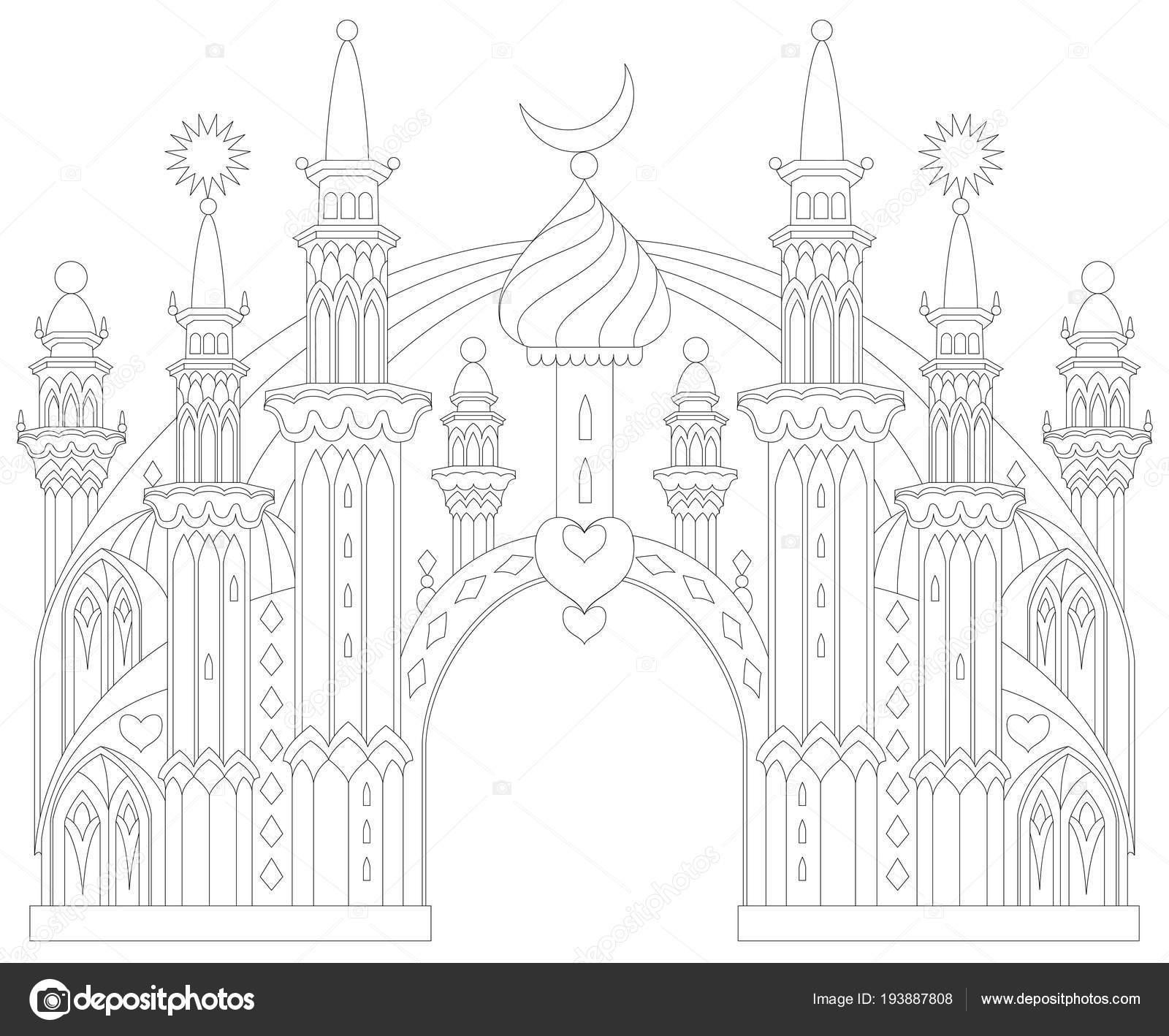 Página Para Colorear Blanco Negro Castillo Del Este Fantástico ...