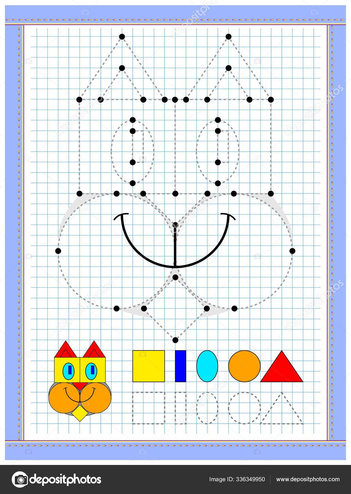 Cocuklarin Geometrik Figurleri Incelemesi Icin Egitim Sayfasi