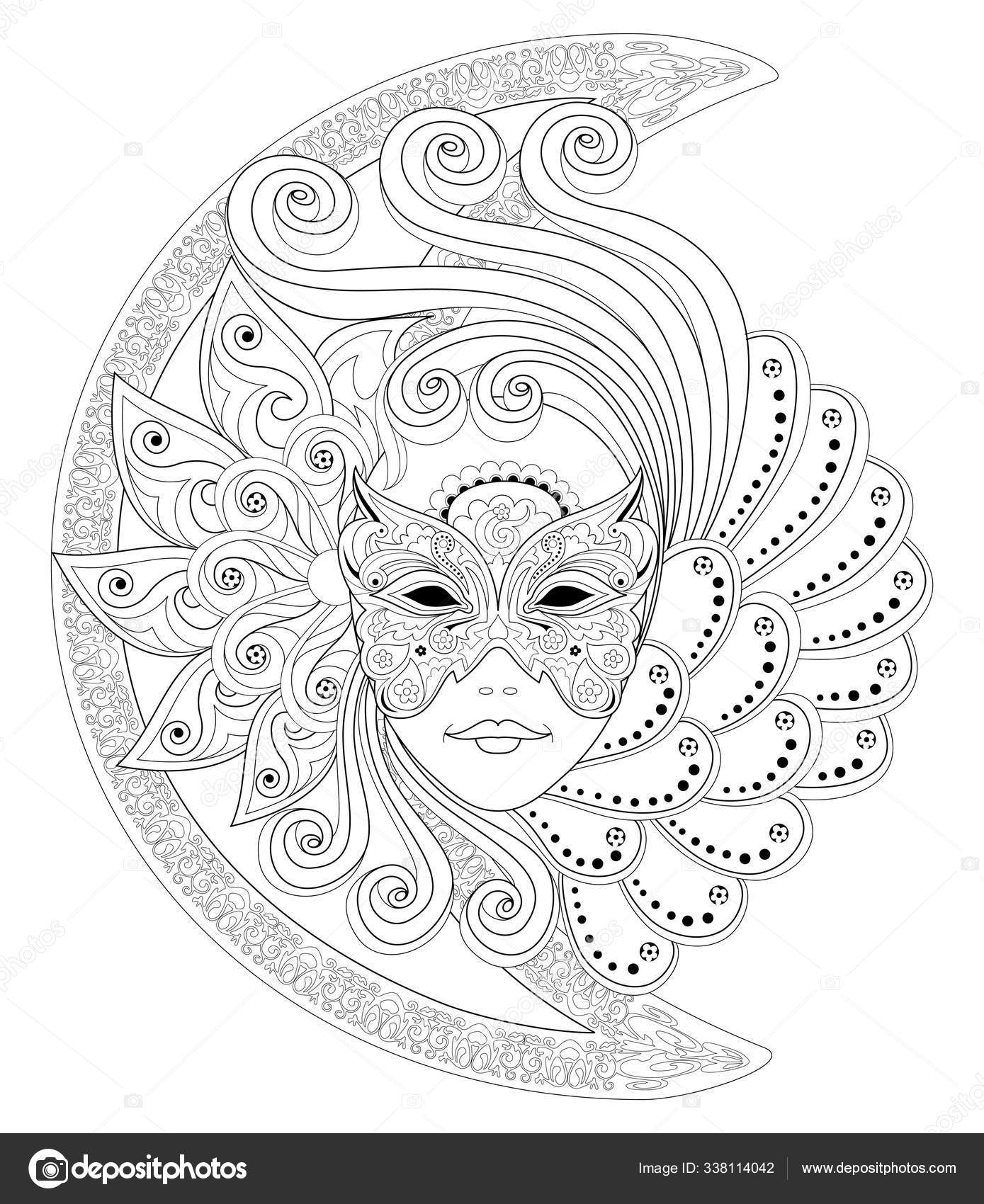 Fantasy Drawing Girl Face Beautiful Venetian Carnival Mask Black White Vector Image By C Nataljacernecka Vector Stock 338114042