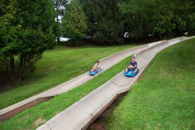 Children attraction the alpine slide, Illinois, USA