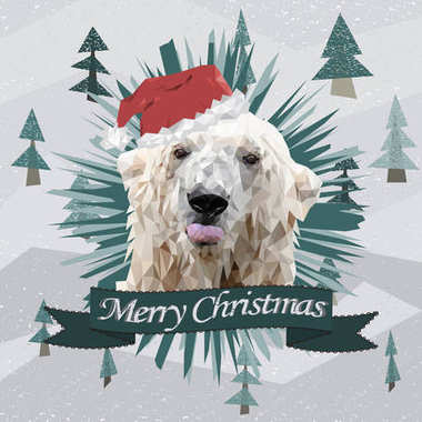 funny Christmas card with a polygonal portrait polar bear showing tongue in the Santa Claus hat