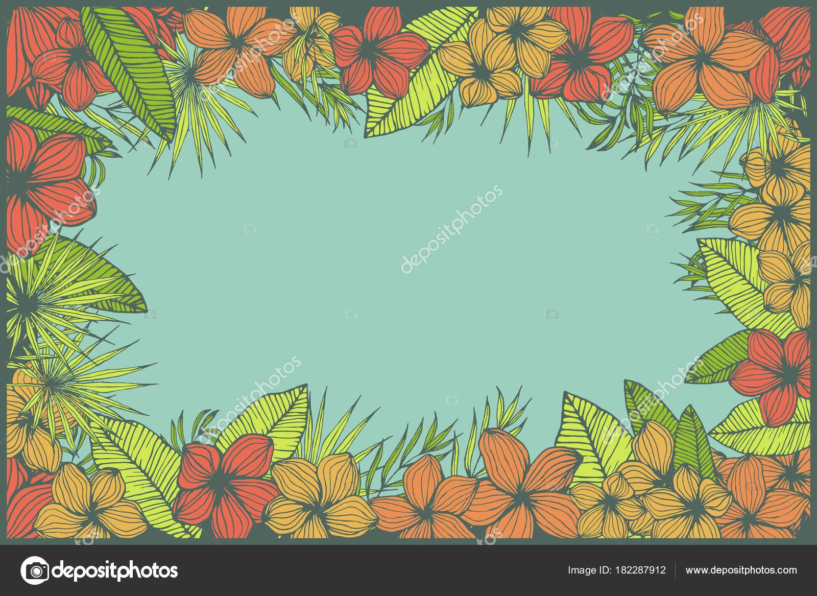 diseño de espacio de copia marco tropical natural, azul con plumeria ...