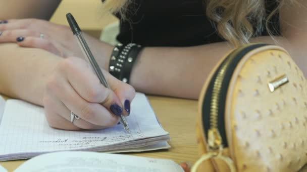 Tanuló ír szöveg egy füzet, tollal
