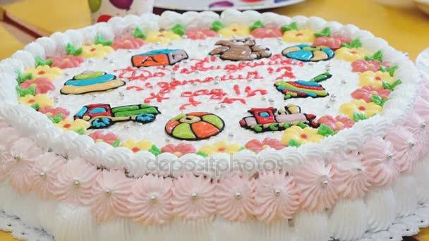 Baby Kuchen Inschrift Abschied Kindergarten Stockvideo