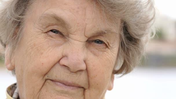 Portrét závažných starých gramma ve věku 80 let venku