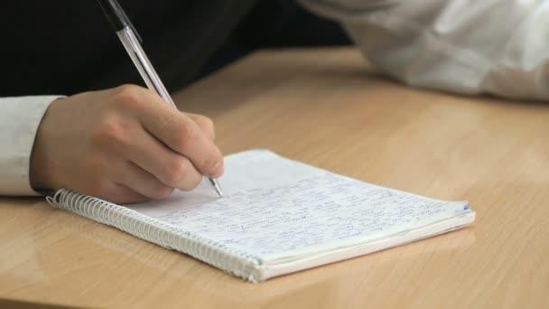 Iskolás ír szöveg egy tollal füzet