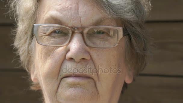 Porträt eines ernsthaften alten Grammatikers im Alter von 80 Jahren im Freien