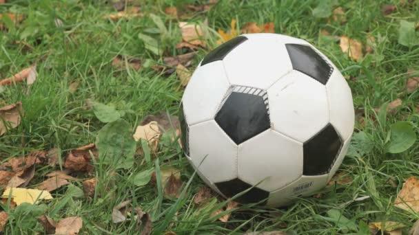 Közeli kép a foci labdát a füvön szabadban