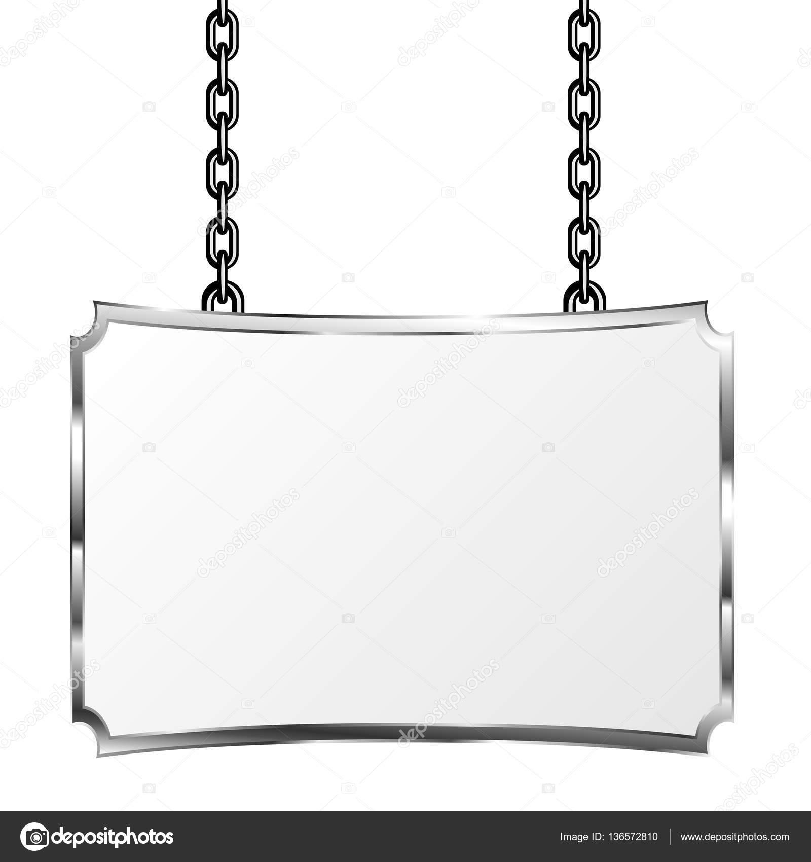Pensión en un marco de metal colgando de cadenas. Letrero de plata ...