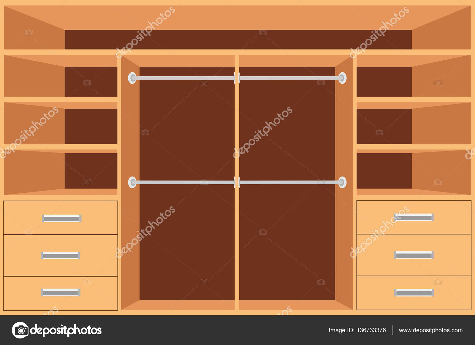 Closet armario con estantes y cajones vaciar el armario for Disenos de zapateras para closet