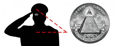 The all-seeing eye, the new world order, the Illuminati. The military salutes