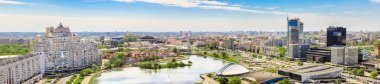 MINSK, BELARUS - May 20.2017 Panoramic view of the city from a height, Nemiga