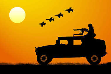 Military operation at sunset silhouette. Attack of the invasion, aircraft fighter, tank, jeep, soldier
