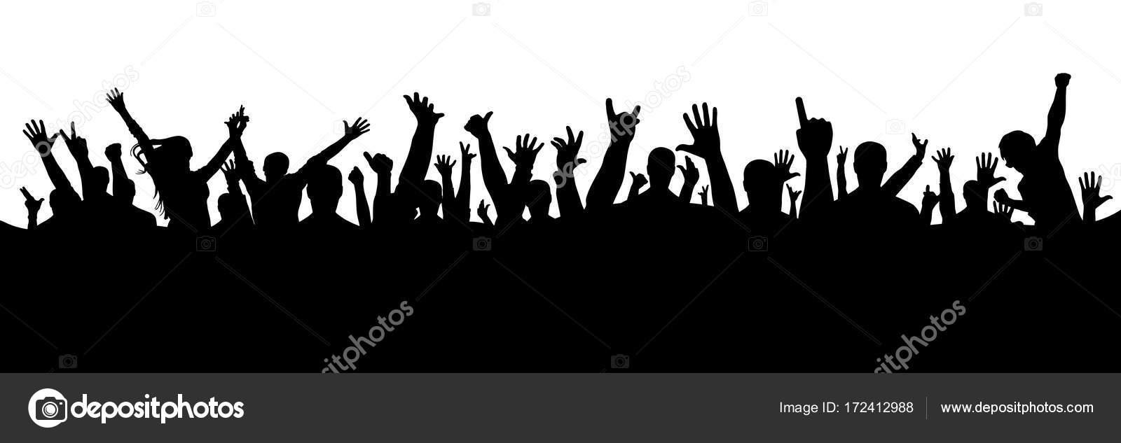 Multitud De Gente Silueta: Mano Multitud Silueta, Vector