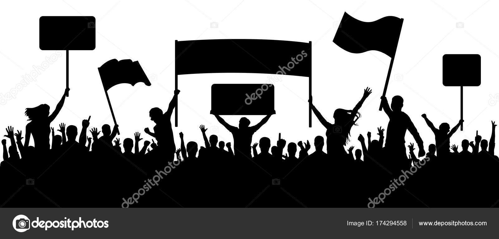 Multitud De Gente Silueta: Gente Furiosa Multitud Con Banderas, Protestando, Silueta