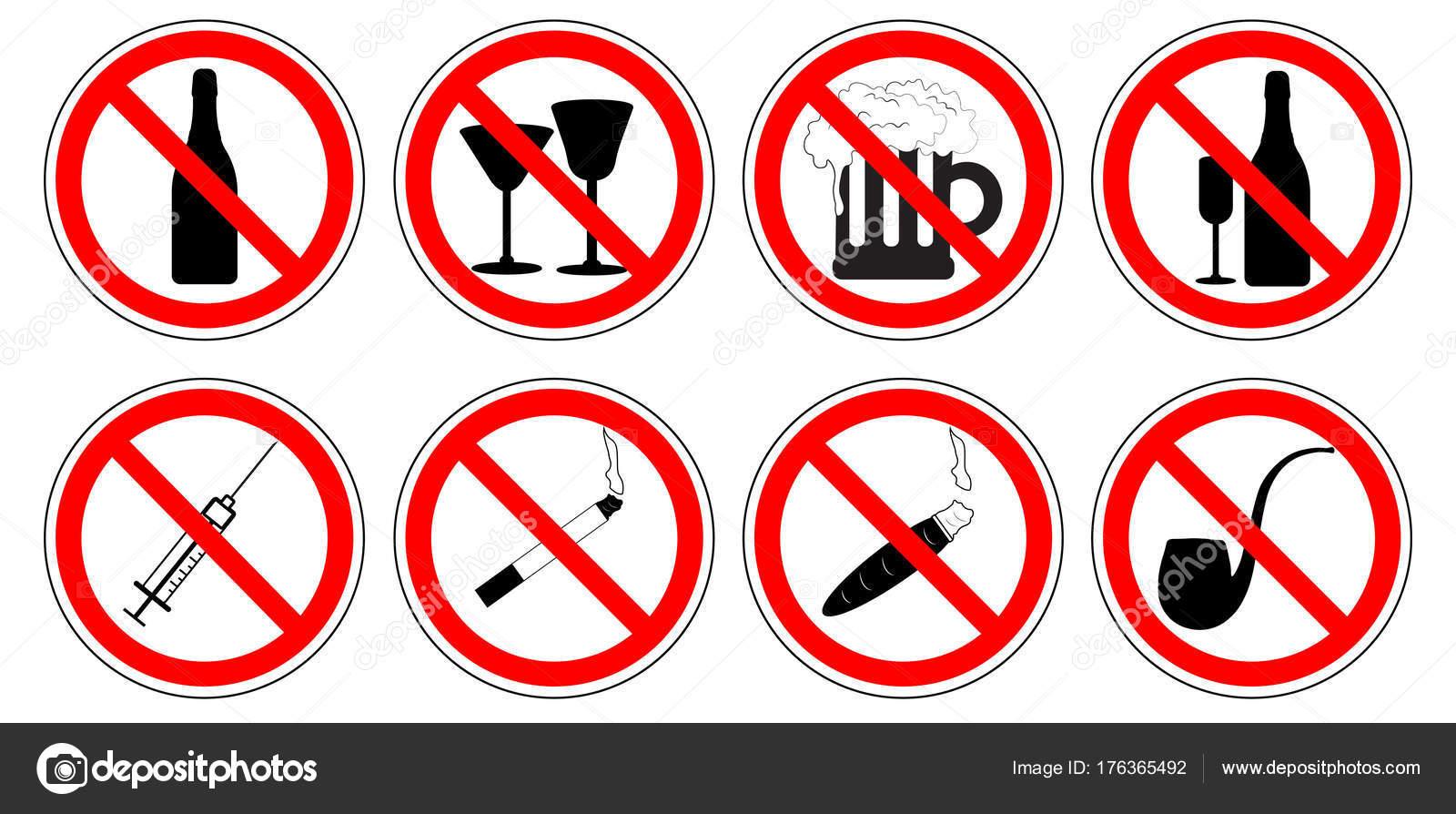 Ensemble De Panneaux D Interdiction Des M Dicaments Boire De L
