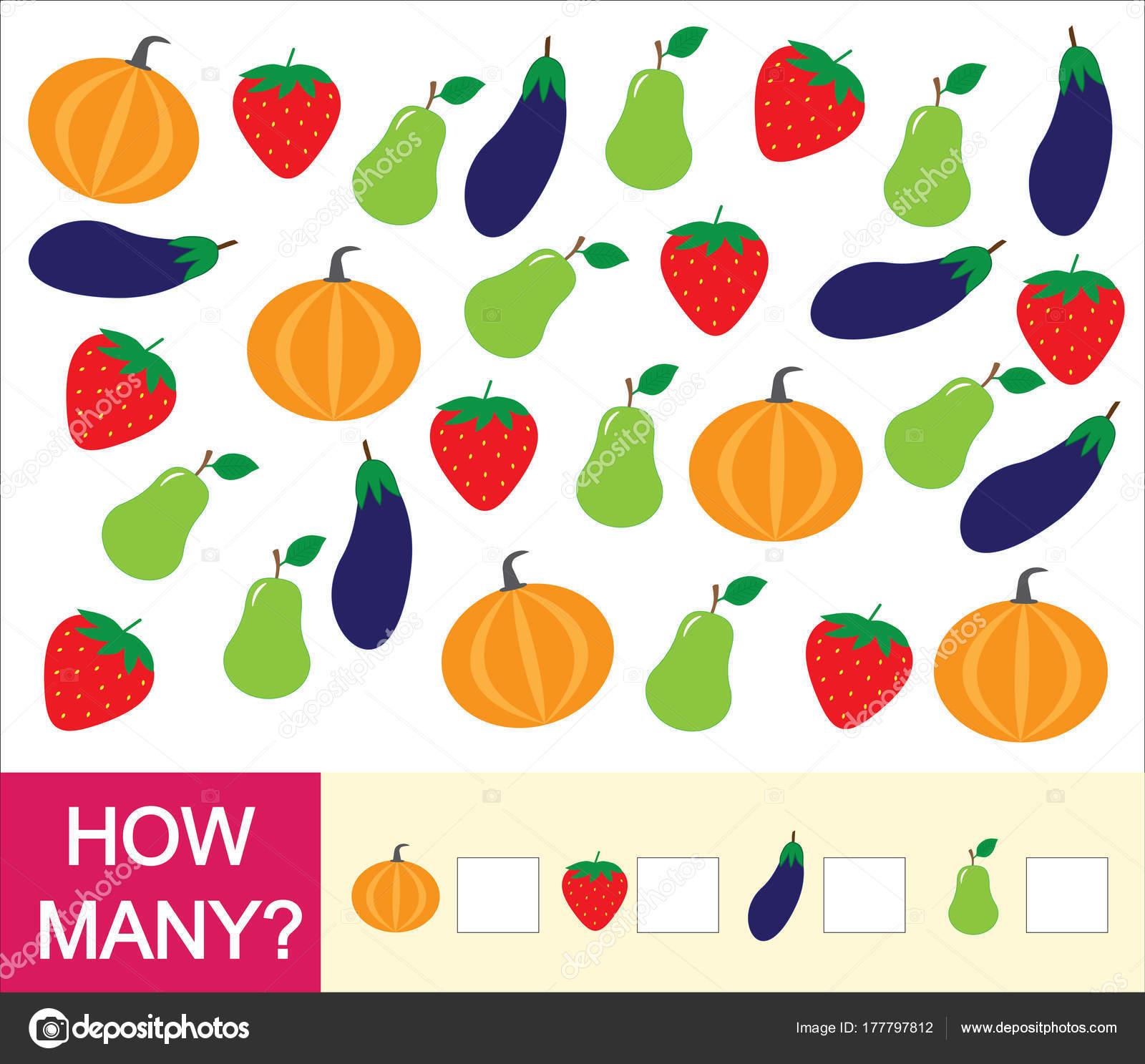 Zählen Sie Wie Viele Früchte Beeren Und Gemüse Birne Erdbeeren ...