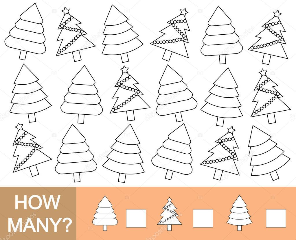 Color Christmas tree and count how many. Mathematical game for children. Vector illustration.