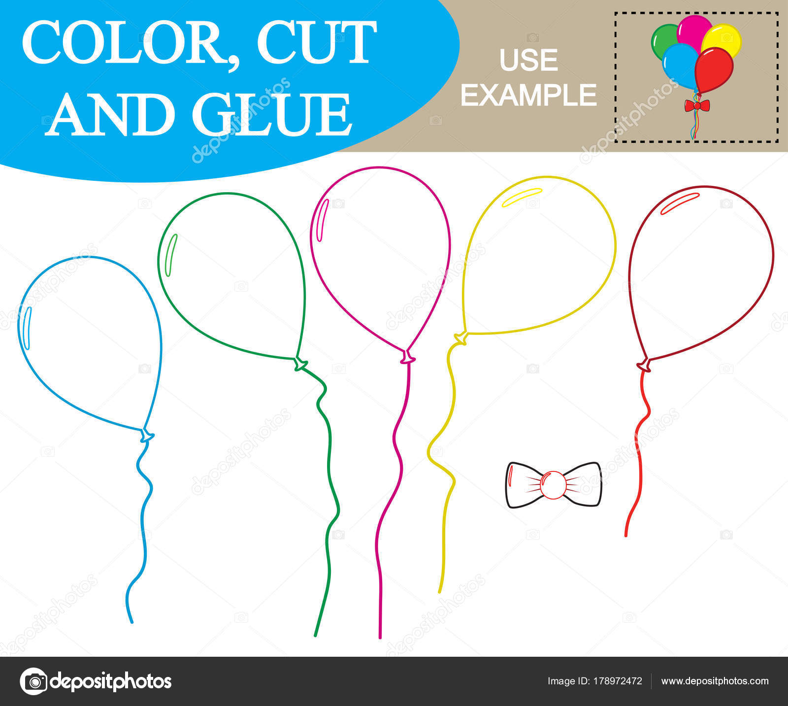 Erstellen Sie Das Abbild Des Ballons Arbeitsblatt Färben Schneiden ...