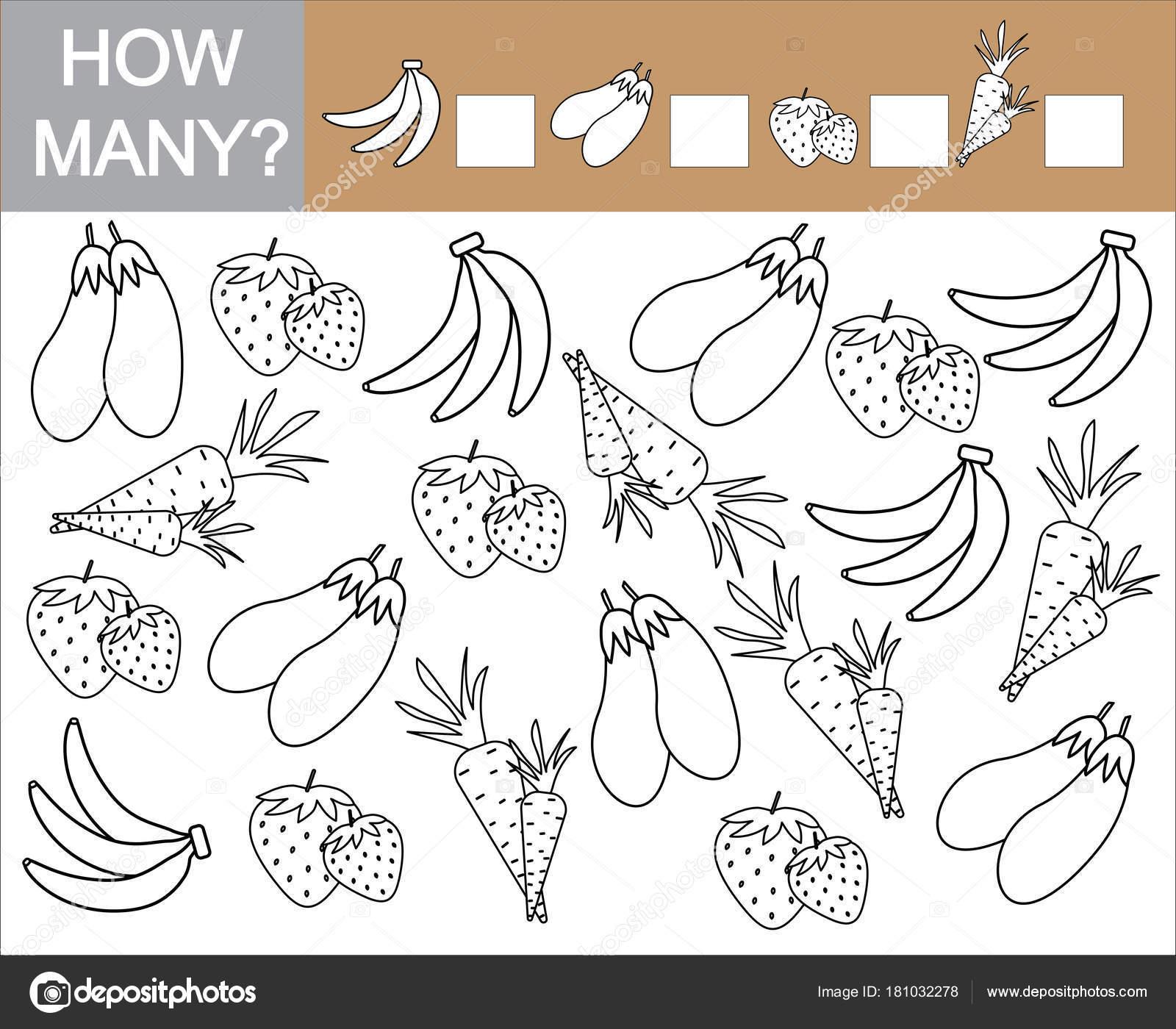 Zählen Sie, wie viele Früchte, Beeren und Gemüse ...