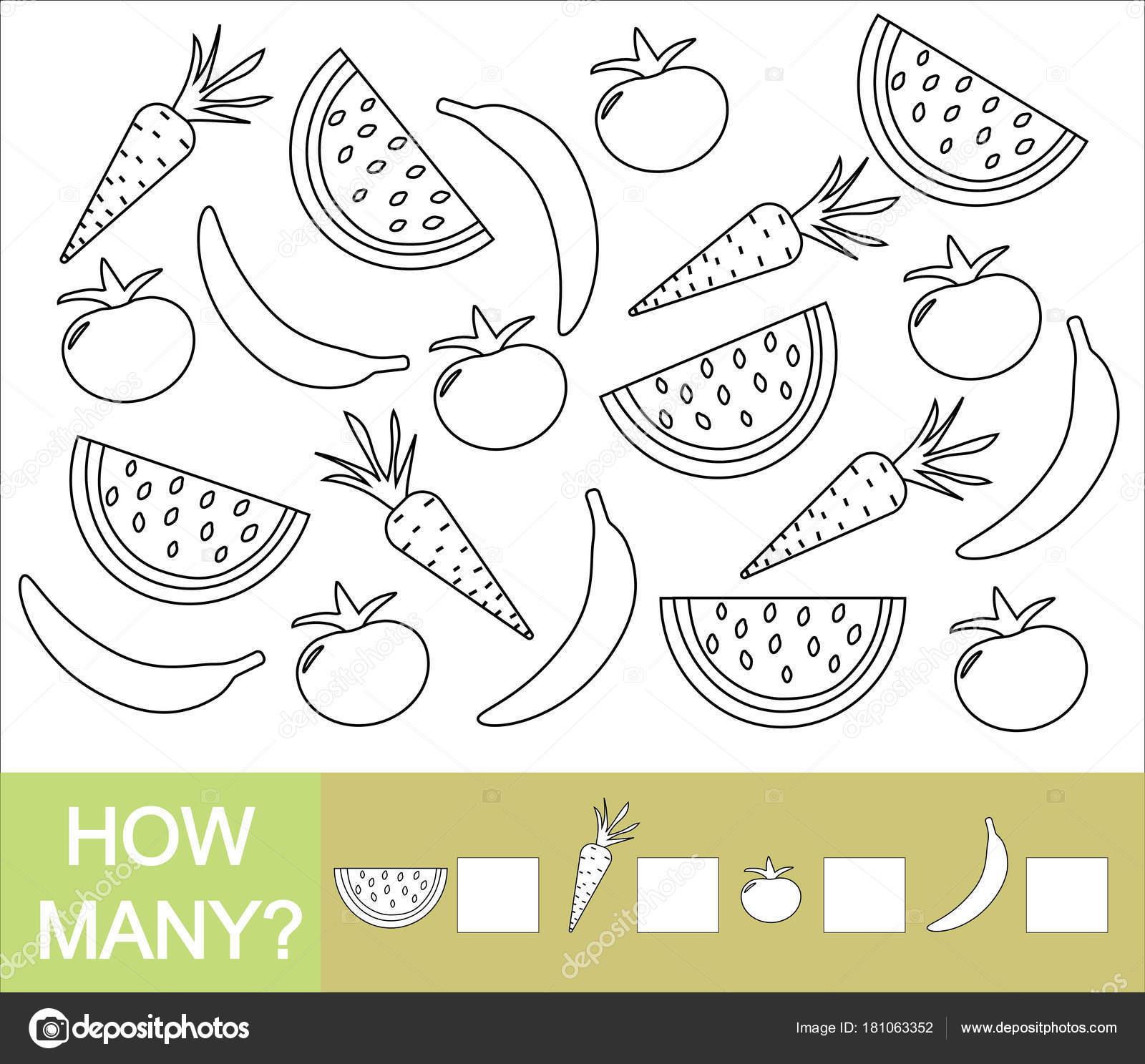 Kaç Meyveler Meyveler Ve Sebzeler Muz Karpuz Domates Havuç